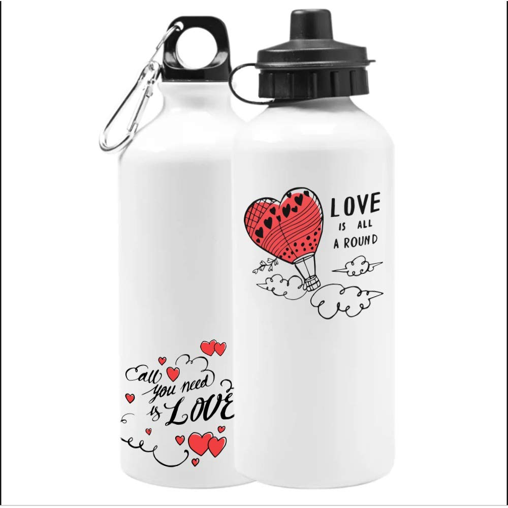Add Your Personalized Text Aluminum Sublimation White Finish 160z Ounce Sport Water Bottle Customizable Gift