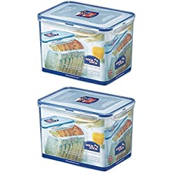 (Pack of 2) LOCK & LOCK Airtight Rectangular Tall Food Storage Container 131.87-oz / 16.48-cup