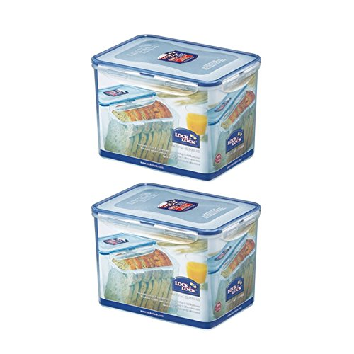 - (Pack of 2) LOCK & LOCK Airtight Rectangular Tall Food Storage Container 131.87-oz / 16.48-cup