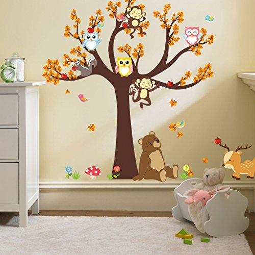 ElecMotive Jungle Wild Animal Vinyl Wall Sticker Decals for Kids Baby Bedroom (Owl Monkey Bear)