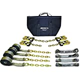 AW Direct TP419G 8-Point Trailer / Flatbed Tie Down Kit, 14'L Straps with Chain Ends, for Car Carriers that have T-Slots - Gray Straps with Reflective Striping, GRADUAL-RELEASE Ratchets
