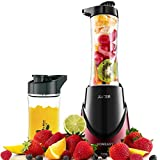 HOMEASY Personal Blender Mixer with 2 Portable Cups (21 oz + 14 oz ) & 2 Travel Lids & Free Recipes Book - Ruby Red