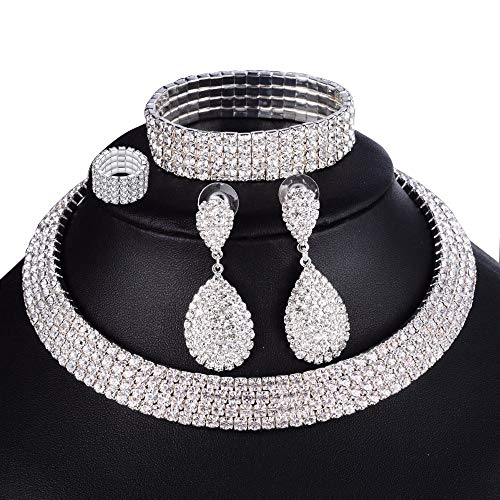 eMeition Austrian Rhinestone Bridal Crystal Choker Collar 4 Row Necklaces Earrings Bracelets Rings Jewelry Sets Women Girls Wedding Prom Elastic Stretch Bracelet