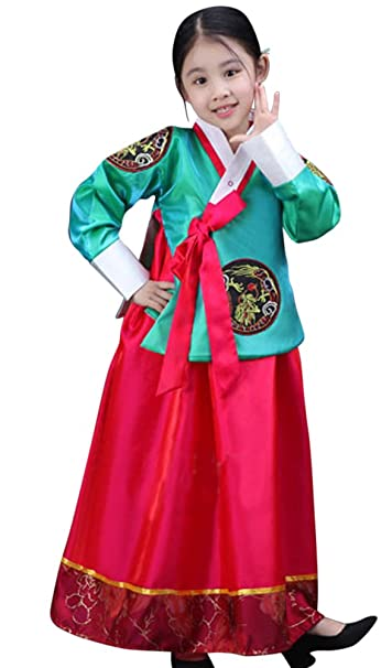 a607008e98b Amazon.com  CRB Fashion Girls Traditional Kids Korean Hanbok Outfit Dress  Costume  Clothing