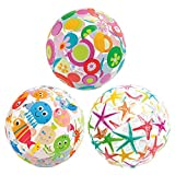 GREATLOVE Marine Animal Pattern Beach Ball Beach Ball Inflatable Handball (3pcs/Random Style)
