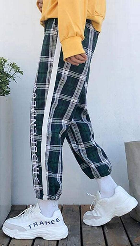 BOBOYU Mens Embroidery Mid Rise Active Trendy Casual Checkered Jogger Pants