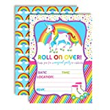 "Colorful Unicorn Rainbow Roller Skating Birthday Party Invitations, 20 5""x7"" Fill in Cards with Twenty White Envelopes by AmandaCreation"