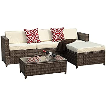 PATIOROMA 5pc Outdoor PE Wicker Rattan Sectional Furniture Set With Cream  White Seat And Back Cushions, Red Throw Pillows, Steel Frame, Gray