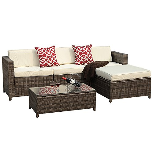 PATIOROMA 5pc Outdoor PE Wicker Rattan Sectional Furniture Set with Cream White Seat and Back Cushions, Red Throw Pillows, Steel Frame, Gray (Indoor Wicker Sectional)