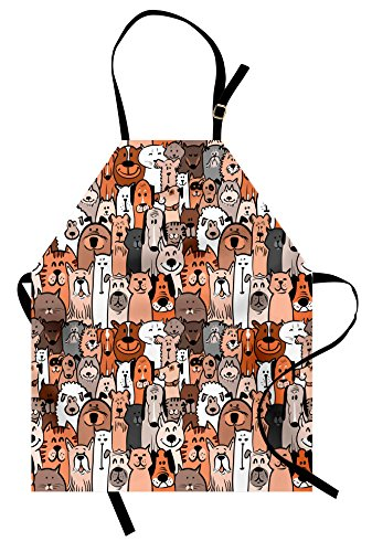 Lunarable Animals Apron, Pattern of Pet Cats and Dogs Doodle Style Art Cartoon Style Retro Domestic Animals, Unisex Kitchen Bib Apron with Adjustable Neck for Cooking Baking Gardening, Brown Grey