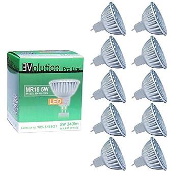 EVolution Pro Line MR16 5W | Kit de ahorro 10x | Bombillas LED | AC o DC 12V 5W 30° 340lm cálido blanco                                                                                      [Clase de eficiencia energética A+]