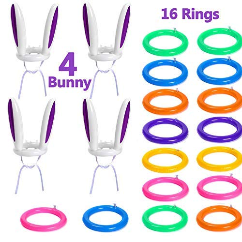 20 Pack Inflatable Bunny Rabbit Ears Ring Toss Game(4 Rabbit Ears & 16 Rings), Inflatable Toss Game, Indoor and Outdoor Game for Easter Party Supplies,Rings Easter Party Games for Family Kids