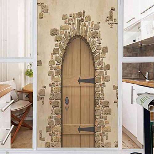 Decorative Window Film,No Glue Frosted Privacy Film,Stained Glass Door Film,Wine Cellar Entrance Stone Arch Ancient Architecture European Building Decorative,for Home & Office,23.6In. by 59In Sand Bro