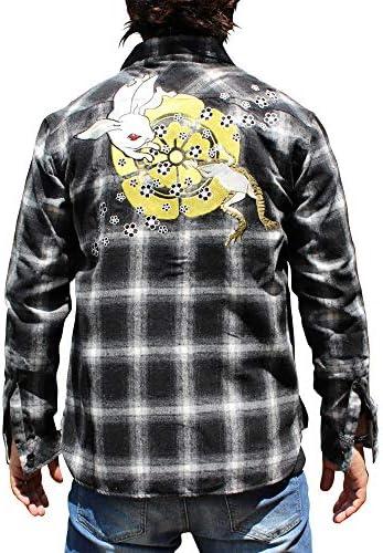 和柄 メンズ 長袖シャツ 和柄刺繍チェックシャツ【CS193-1】和柄刺繍長袖Tシャツ 兎蛙刺繍 和柄刺繍TシャツちきりやロンT特攻服