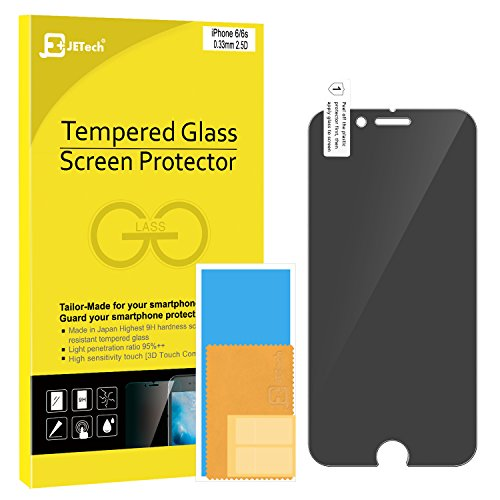 iPhone 6/6s Screen Protector, JETech Premium Privacy Anti-Spy Tempered Glass Screen Protector for Apple iPhone 6 and iPhone 6s 4.7' (Black) - 0800H