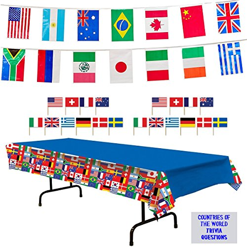 International Flags Party Decorations - International Flags Tablecover, 23 ft Pennant Flag Banner, Toothpick Flags (50), and Countries of The World Trivia Questions