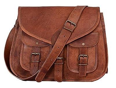 Hell Blues: Women Handmade 14 inch leather tote satchel multipurpose saddle bag