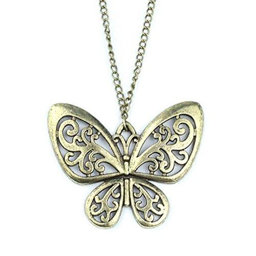 [Vintage Costume Jewelry Choker Chunky Friendship Statement Bronze Butterfly Pendant Chain Necklace] (Butterfly Costume Jewelry)