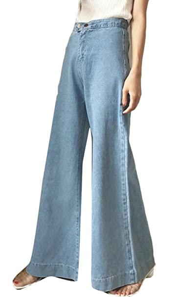 Wofupowga Womens Baggy Wide Leg Distressed High Waist Jeans Washed Palazzo  Denim Pants at Amazon Women's Jeans store 9cf22fcf4702