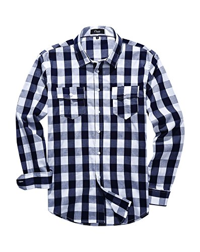 iClosam Men's Slim-Fit Long-Sleeve Buffalo Plaid Casual Button Down Shirt