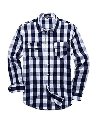 iClosam Men's Slim-Fit Long-Sleeve Buffalo Plaid Casual Button Down Shirt ()