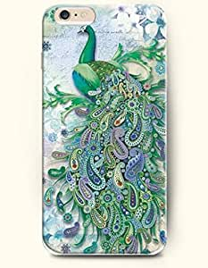 OOFIT Hard Phone Case for Apple iPhone 6 ( 4.7 inches) - Green Peacock - Colorful Drawing Pattern