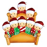 PERSONALIZED CHRISTMAS ORNAMENTS FAMILY SERIES- BED FAMILY OF 8