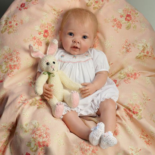 The Ashton-Drake Galleries Linda Murray Bunny Hugs Lifelike Poseable Baby Girl Doll With Bunny Friend