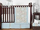 Sweet Jojo Designs 11-Piece Blue and Taupe Hayden Gender Neutral Baby Bedding Girl or Boy Crib Set Without Bumper
