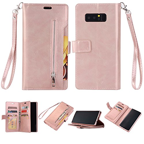 Galaxy Note 8 Case,DAMONDY Zipper Stand Wallet Purse 9 Card Slot ID Holders Design Flip Cover Pocket Purse Leather Magnetic Protective for Samsung Galaxy Note 8 6.3-rose gold by DAMONDY