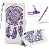 Strap Pu Leather Case for iPhone XR,Wallet Flip Cover for iPhone XR,Herzzer Classic Elegant Book Style [White Purple Wind Chime] Embossed Slim Fit Stand Leather Folio Pouch Protective Mobile Cellphone Case for iPhone XR