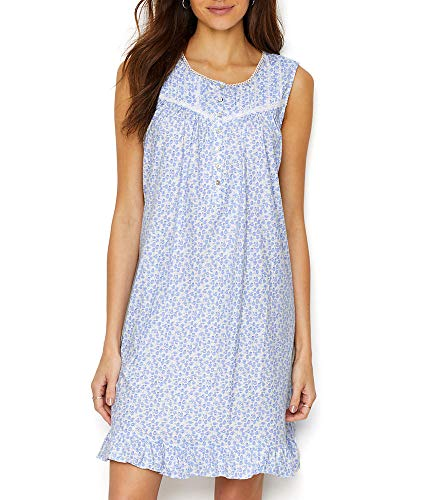 Eileen West Women's Cotton Jersey Knit Sleeveless Short Nightgown White Ground Daisies X-Large