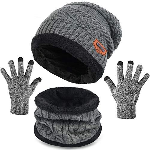 Maylisacc Mens Womens Winter Warm Fleece Beanie Hat Touch Screen Gloves Neck Warmer Gaiter Set Grey