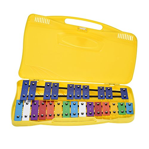 ammoon 25 Notes Glockenspiel Xylophone Percussion Rhythm Teaching Instrument Toy with 2 Mallets Handheld Case by ammoon