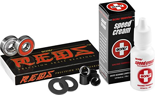 Bones Bearings Reds with Bearing Spacers, Axle Washers & Bones Speed Cream (Best Longboard Wheels For Speed)