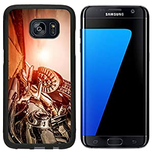Liili Samsung Galaxy S7 Edge Aluminum Backplate Bumper Snap Case iPhone6 IMAGE ID 32728942 Biker girl riding on a motorcycle Bottom view of the legs in leather boots