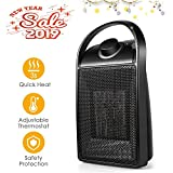Space Heater, Quiet Ceramic Space Heater with Adjustable Thermostat, Portable Electric Heater Fan with Over-Heat Protection