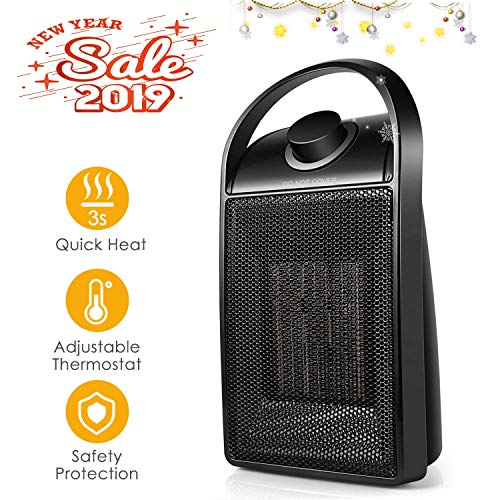 1500W Quick Heat Ceramic Space Heater with Safety Tip Over Switch