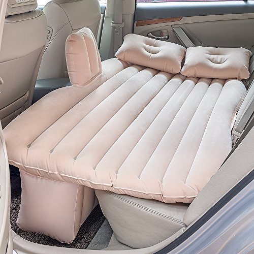 Car Inflatable Mattress Camping Air Bed Car Mobile Cushion Inflation Back Seat Extended Couch with Motor Pump, Two Pillows for Sleep Rest and Travel