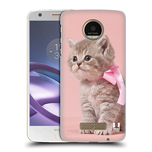 Diamond Pink Motorola Faceplates - Case+Film Ultra-Thin Polycarbonate Snap on Fits Motorola Moto Z/Z Droid/XT1650 Hard Back Cover Pink Cute Cat/Kitty/Kitten with Bow