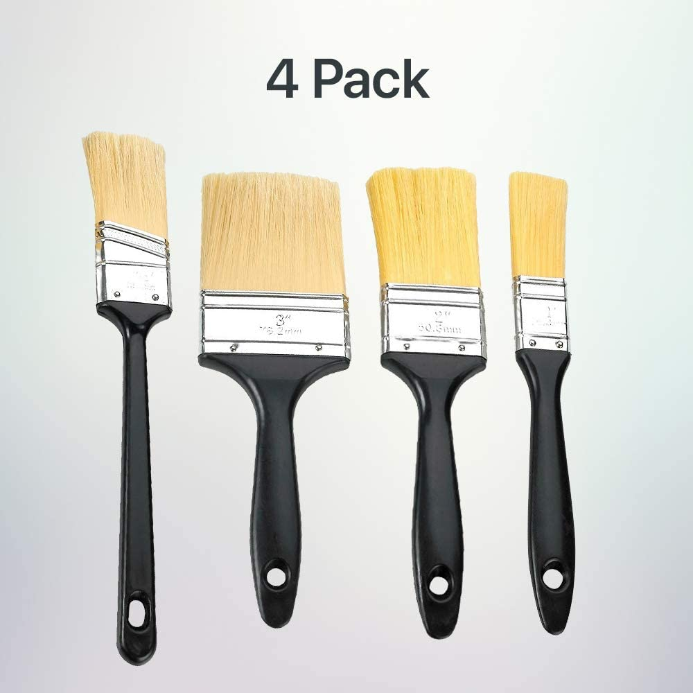 Watercolor for Any Professional Paint Job Polyester Bristle Paint Brush Value Set with Contoured Handles Katzco 4 Pack Arts and Crafts Use for Professional and Amateur Projects Oil Stain