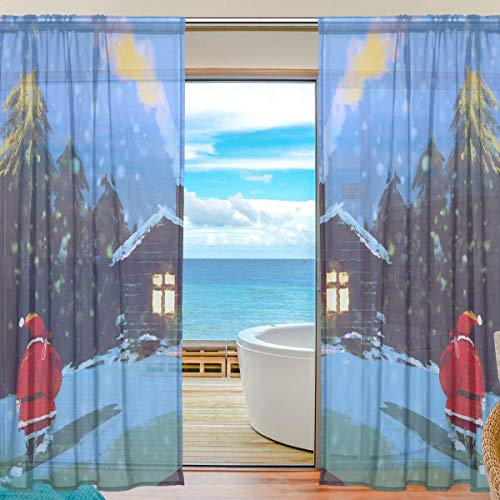 Sheer Curtain for Home Bedroom Living Room Decor Retro Tulle Print Semi Sheer Window Curtain 55x78 Inches 2 Panels Wildlife Winter Santa Claus Christmas Draperies
