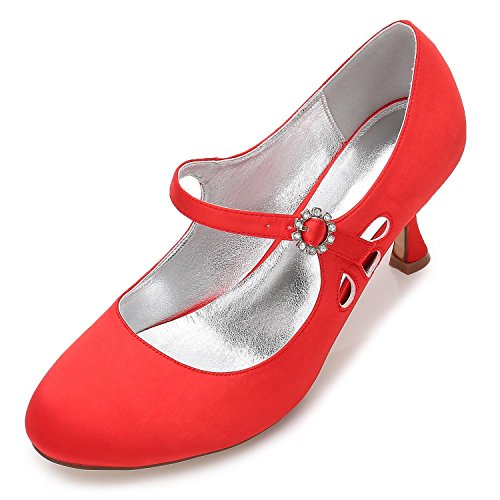 45 Head High Wedding Toes Close Low Satin YC Women F17061 Shoes Evening Red L Pumps Party Heels Round The tq8YSF6nw