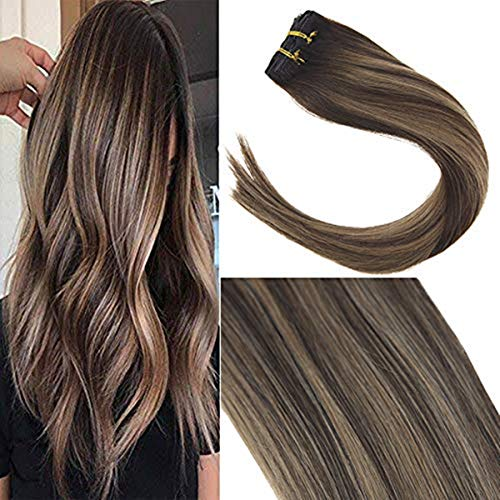 Sunny Clip on Human Hair Extensions Brown 20 Inch Balayage Color Dark Brown Ombre to Strawberry Blonde Mix Brown Real Hair Clip ins Silky Soft Full Head Set 7 pcs 120 gram