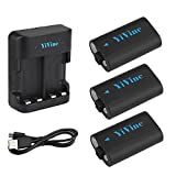Rechargeable Battery for Xbox One /Xbox One S /Xbox One X /Xbox one Elite Wireless Controller, 2500mAH (3-Pack) NI-MH Battery + Dual-Charger by YiVine