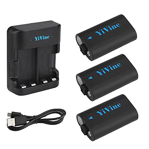 YiVine Rechargeable Battery for Xbox One/Xbox One S Wireless Controller, 2500mAH (3-Pack) NI-MH Battery + Dual-Charger - Replacement for Xbox One Controller Battery Pack
