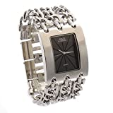 G&D Women's Stainless Steel Band Multi-Chain Rose Silver-Tone Bracelet Watch