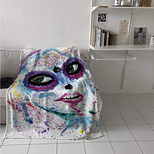 maisi Girls Super Soft Lightweight Blanket Grunge Halloween Lady with Sugar Skull Make Up Creepy Dead Face Gothic Woman Artsy Oversized Travel Throw Cover Blanket 70x50 Inch Blue Purple]()