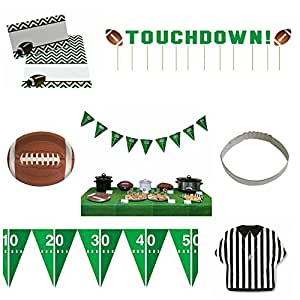 Football Game Day Party Table Serving Supplies Platter Bowl Banner Tablecloth and Custom Tent Cards (Green-Chevron)