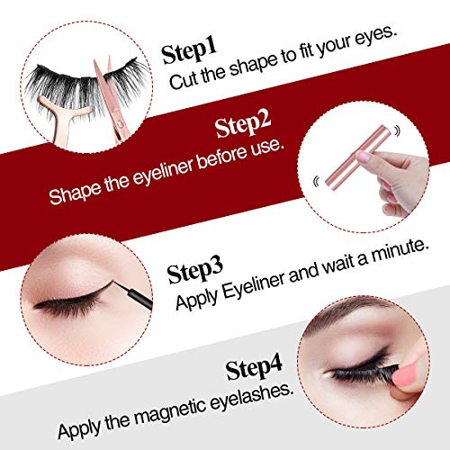 Magnetic Eyeliner and Lashes Kit, Liaboe Reusable False EyeLashes, 10 Styles Soft Eyelashes with 2 Liquid Eyeliners and Tweezers, Long Lasting, Natural Look, No Glue